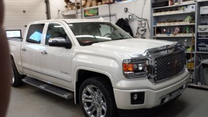 Chrome bug deflector, box rails, roll-n-lock cover, chrome handles, LED Headlights& Fogs, Leveling Kit